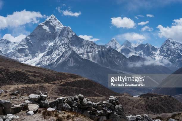 Ama Dablam mountain peak at Thukla pass, Everest region, Nepal