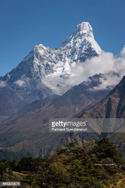 Ama Dablam mountain peak from Namche Bazaar view point, Everest region, Nepal