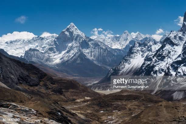 Ama Dablam mountain peak view from Chola pass, Everest region, Nepal