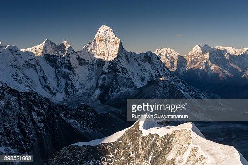 Ama Dablam mountain peak view from Island peak, Everest region, Nepal