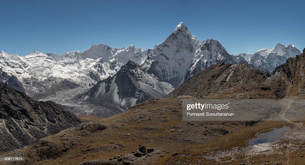 Ama Dablam mountain peak view from Kongma la pass, Everest region, Nepal : Stock Photo