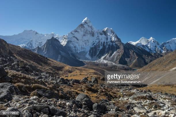 Ama Dablam mountain peak view from Kongma la pass, Everest region, Nepal