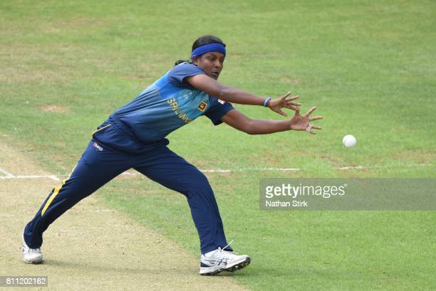 Ama Kanchana of Sri Lanka attempts to stop the ball during the ICC Women's World Cup 2017 match between West Indies and Sri Lanka at The 3aaa County...