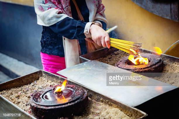 A-Ma Temple Macau Woman Lighting Up Incense Sticks Ma Kok Miu Macao