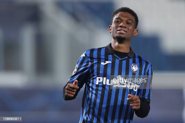 Amad Diallo of Atalanta reacts during the UEFA Champions League Group D stage match between Atalanta BC and FC Midtjylland at Gewiss Stadium on...