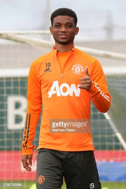 Amad Diallo of Manchester United gestures during a first team training session at Aon Training Complex on January 22, 2021 in Manchester, England.