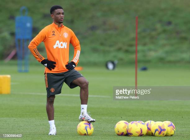 Amad Diallo of Manchester United in action during a first team training session at Aon Training Complex on January 14, 2021 in Manchester, England.