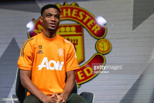 Amad Diallo of Manchester United is interviewed on his first day at Aon Training Complex on January 13, 2021 in Manchester, England.
