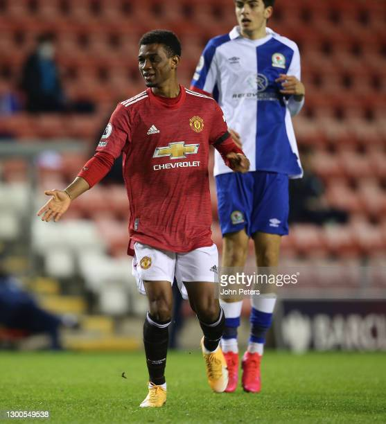 Amad of Manchester United U23s in action during the Premier League 2 match between Manchester United U23s and Blackburn Rovers U23s at Leigh Sports...