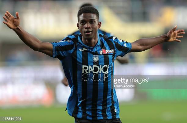 Amad Traore of Atalanta BC celebrates his goal during the Serie A match between Atalanta BC and Udinese Calcio at Gewiss Stadium on October 27 2019...