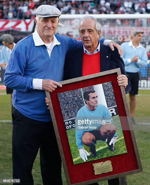 Amadeo Carrizo former goalkeeper of River Plate recieves a portrait from Rodolfo D'Onofrio President of River Plate during an homage paid to him...