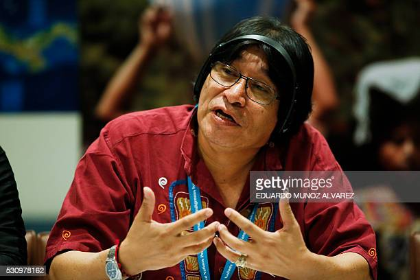 Amadeo Martinez President of the Indigenous Council of Central America speaks to guests during a press conference about the new high Indigenous tech...