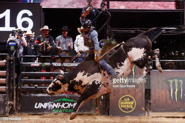 Amadeu Campos Silva rides bull Marquis Metal Works Draggin Up during the Monster Energy Team Challenge on June 21 at the South Point Arena Las Vegas...