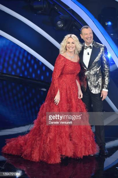 Amadeus and Antonella Clerici attend the 70° Festival di Sanremo at Teatro Ariston on February 07 2020 in Sanremo Italy