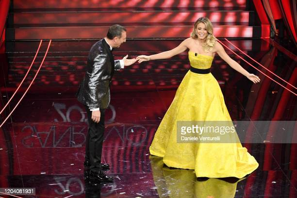 Amadeus and Diletta Leotta attend the 70° Festival di Sanremo at Teatro Ariston on February 04 2020 in Sanremo Italy