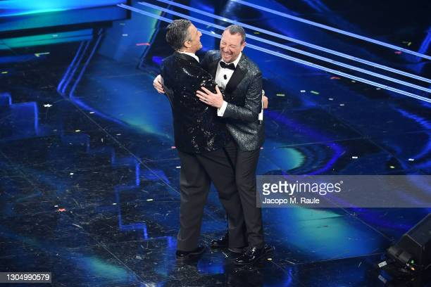 Amadeus and Fiorello are seen on stage at the 71th Sanremo Music Festival 2021 at Teatro Ariston on March 02, 2021 in Sanremo, Italy.