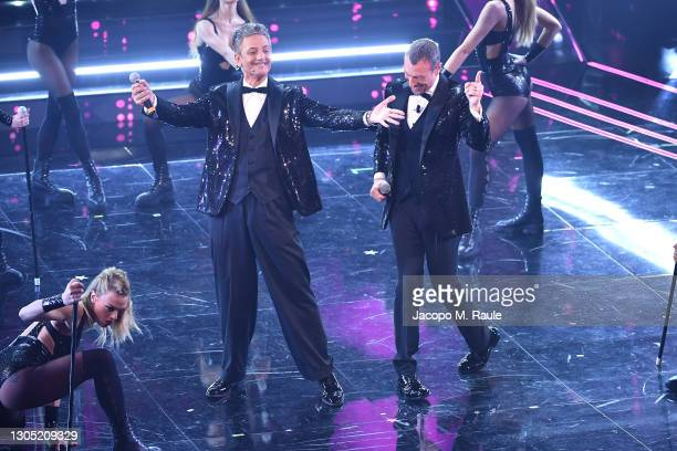 Amadeus and Fiorello are seen on stage at the 71th Sanremo Music Festival 2021 at Teatro Ariston on March 03, 2021 in Sanremo, Italy.