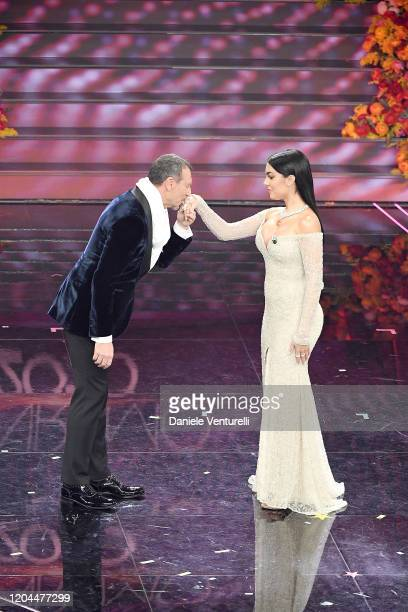 Amadeus and Georgina Rodriguez attend the 70° Festival di Sanremo at Teatro Ariston on February 06 2020 in Sanremo Italy