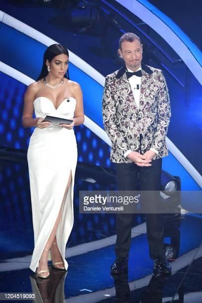 Amadeus and Georgina Rodriguez attend the 70° Festival di Sanremo at Teatro Ariston on February 06, 2020 in Sanremo, Italy.