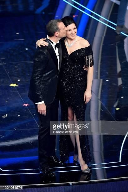 Amadeus and Giovanna Civitillo attend the 70° Festival di Sanremo at Teatro Ariston on February 04 2020 in Sanremo Italy