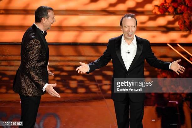 Amadeus and Lewis Capaldi attend the 70° Festival di Sanremo at Teatro Ariston on February 06, 2020 in Sanremo, Italy.