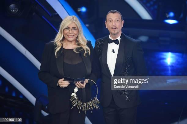 Amadeus and Mara Venier attend the 70° Festival di Sanremo at Teatro Ariston on February 08 2020 in Sanremo Italy