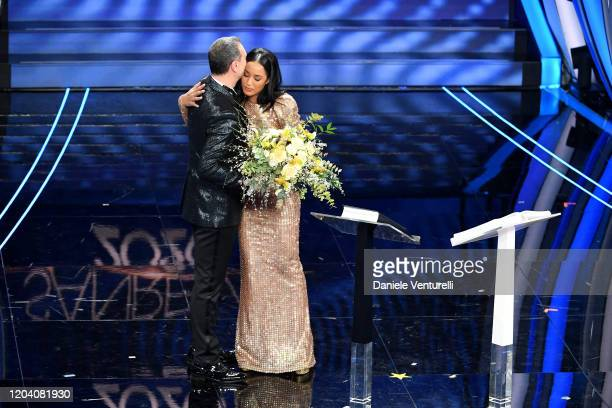 Amadeus and Rula Jebreal attend the 70° Festival di Sanremo at Teatro Ariston on February 04 2020 in Sanremo Italy