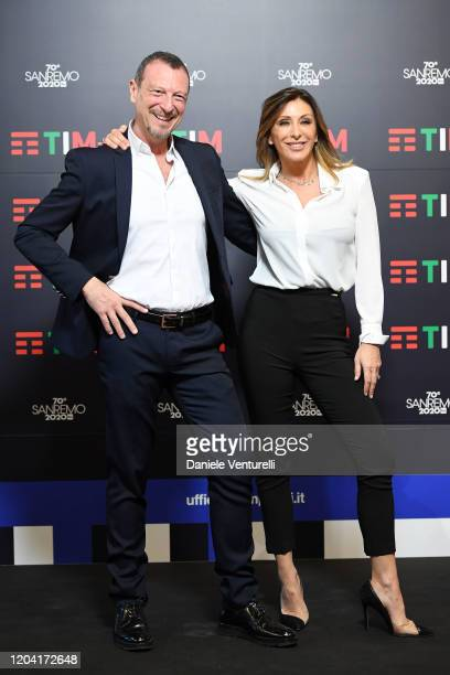 Amadeus and Sabrina Salerno attends a photocall at the 70° Festival di Sanremo at Teatro Ariston on February 05 2020 in Sanremo Italy