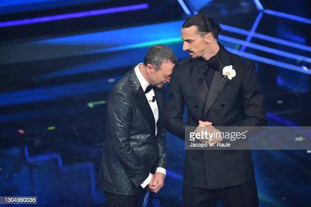 Amadeus and Zlatan Ibrahimović are seen on stage at the 71th Sanremo Music Festival 2021 at Teatro Ariston on March 02, 2021 in Sanremo, Italy.