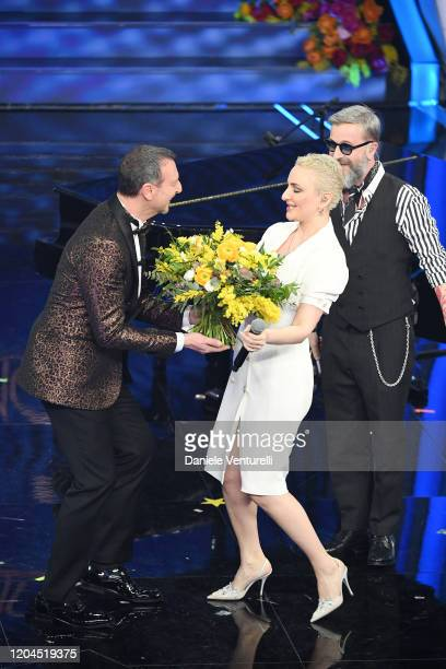 Amadeus Arisa and Marco Masini attend the 70° Festival di Sanremo at Teatro Ariston on February 06 2020 in Sanremo Italy