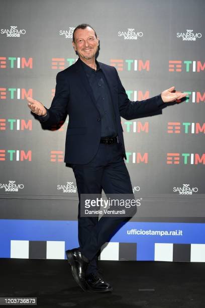 Amadeus attends a photocall at the 70° Festival di Sanremo at Teatro Ariston on February 03, 2020 in Sanremo, Italy.