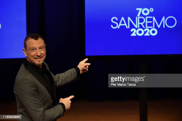 Amadeus attends the 70 Sanremo Music Festival Press Conference on January 14, 2020 in Sanremo, Italy.