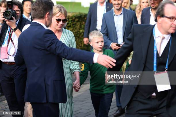 Amadeus Becker, son of Boris and Lilly Becker and his nanny during the CHIO 2019 Media Night on July 16, 2019 in Aachen, Germany.