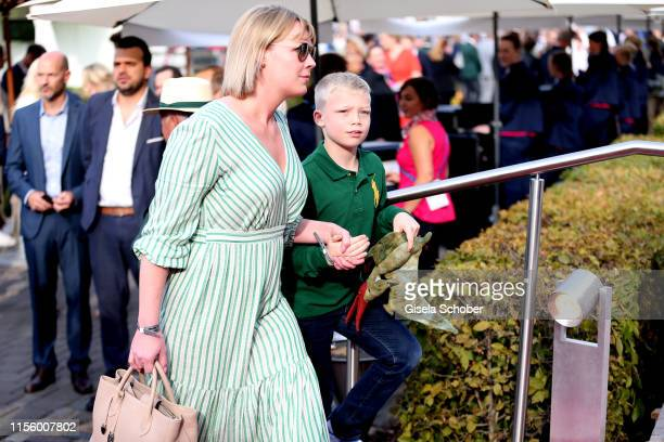 Amadeus Becker son of Boris and Lilly Becker and his nanny during the CHIO 2019 Media Night on July 16 2019 in Aachen Germany