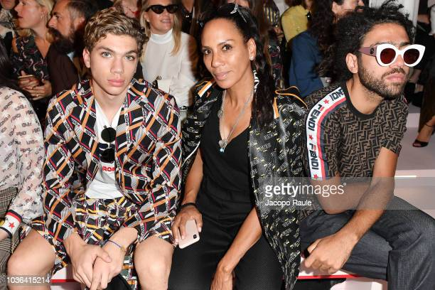 Amadeus Benedict Edley Luis Becker Lilly Becker and Noah Becker attend the Fendi show during Milan Fashion Week Spring/Summer 2019 on September 20...