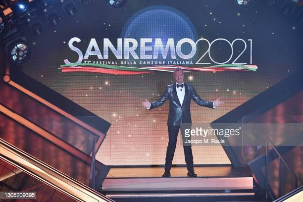 Amadeus presents the 71th Sanremo Music Festival 2021 at Teatro Ariston on March 03, 2021 in Sanremo, Italy.