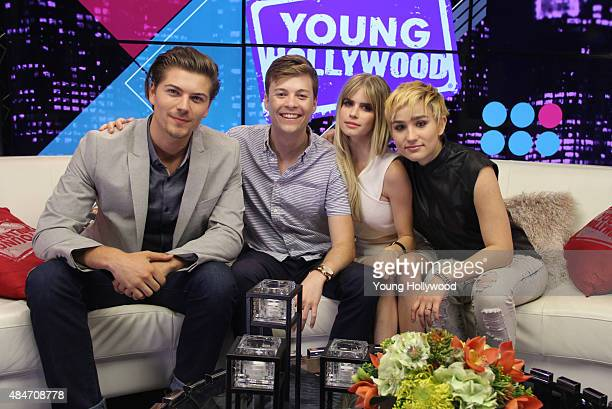 Amadeus Serafini John Karna Carlson Young and Bex TaylorKlaus at the Young Hollywood Young Hollywood Studio on August 11 2015 in Los Angeles...