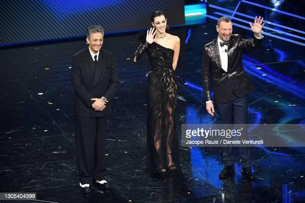Amadeus, Vittoria Ceretti and Fiorello are seen on stage during the 71th Sanremo Music Festival 2021 at Teatro Ariston on March 04, 2021 in Sanremo,...