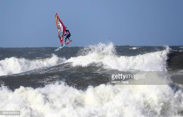 Amado Vrieswijk of Netherlands competes in the men's free style during the MercedesBenz Windsurf World Cup Sylt on October 6 2017 in Westerland...