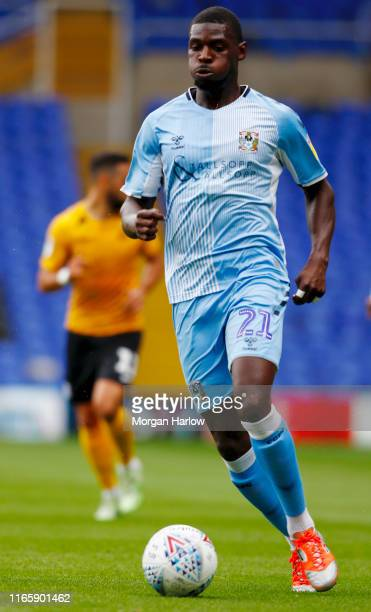 Amadou Bakayoko of Coventry City runs with the ball during the Sky Bet League One match between Coventry City and Southend United at Ricoh Arena on...