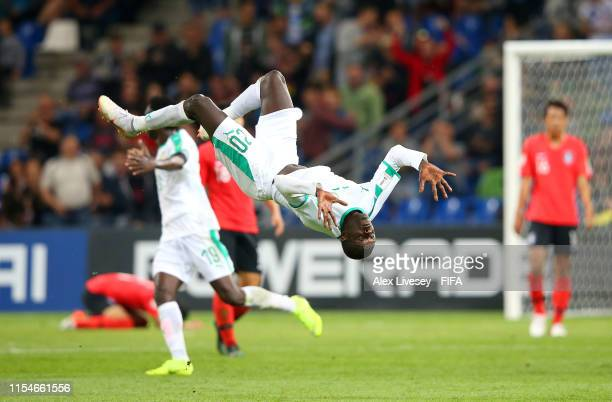 Amadou Ciss of Senegal celebrates after scoring his team's third goal during the 2019 FIFA U20 World Cup Quarter Final match between Korea Republic...
