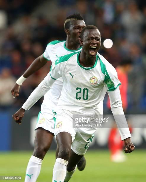 Amadou Ciss of Senegal celebrates after scoring his team's third goal during the 2019 FIFA U-20 World Cup Quarter Final match between Korea Republic...