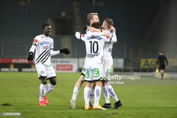 Amadou Dante of Sturm Graz, Kevin Friesenbichler of Sturm Graz, Otar Kiteishvili of Sturm Graz and Jakob Jantscher of Sturm Graz celebrate a goal...
