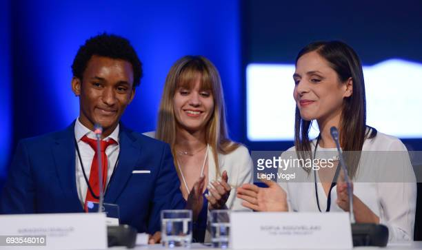 Amadou Diallo and Sofia Kouvelaki Executive Director of The Home Project deliver remarks during the Concordia Europe Summit on June 7 2017 in Athens...