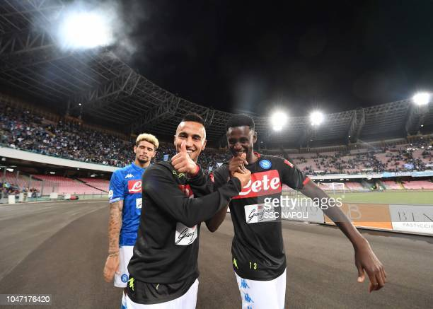 Amadou Diawara Adam Ounas during the Serie A match between SSC Napoli and US Sassuolo at Stadio San Paolo on October 7 2018 in Naples Italy