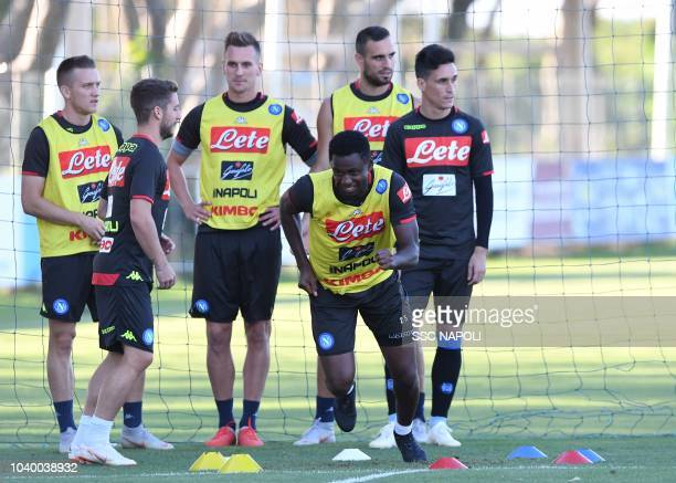 Amadou Diawara during an SS Napoli Training Session on September 25 2018 in Naples Italy