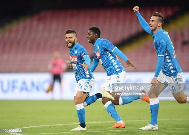 Amadou Diawara Fabian Ruiz and Lorenzo Insigne celebrate the 10 goal scored by Lorenzo Insigne during the serie A match between SSC Napoli and Parma...