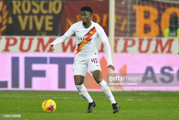 Amadou Diawara of As Roma in action during the Coppa Italia match between Parma Calcio and AS Roma at Ennio Tardini on January 16, 2020 in Parma,...