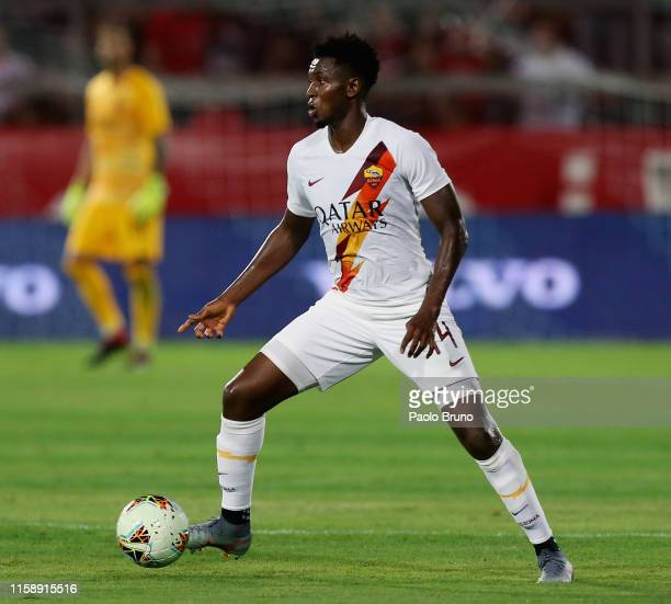 Amadou Diawara of AS Roma in action during the pre-season friendly match between AC Perugia and AS Roma at Stadio Renato Curi on July 31, 2019 in...