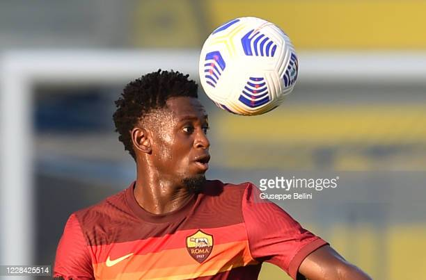 Amadou Diawara of AS Roma in action during the Pre-Season friendly match between Frosinone Calcio and AS Roma at Stadio Benito Stirpe on September 9,...